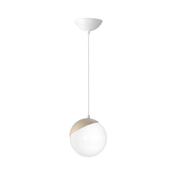 Lampa wisząca nowoczesna szklana kula SFERA WOOD drewno/biały śr. 14cm