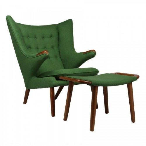 Fotel z podnóżkiem NIEDŹWIEDŹ - inspirowany proj. Papa Bear Chair zielony