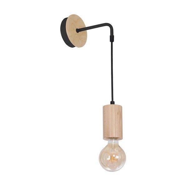 Kinkiet drewniany designerski LINES drewno/czarny