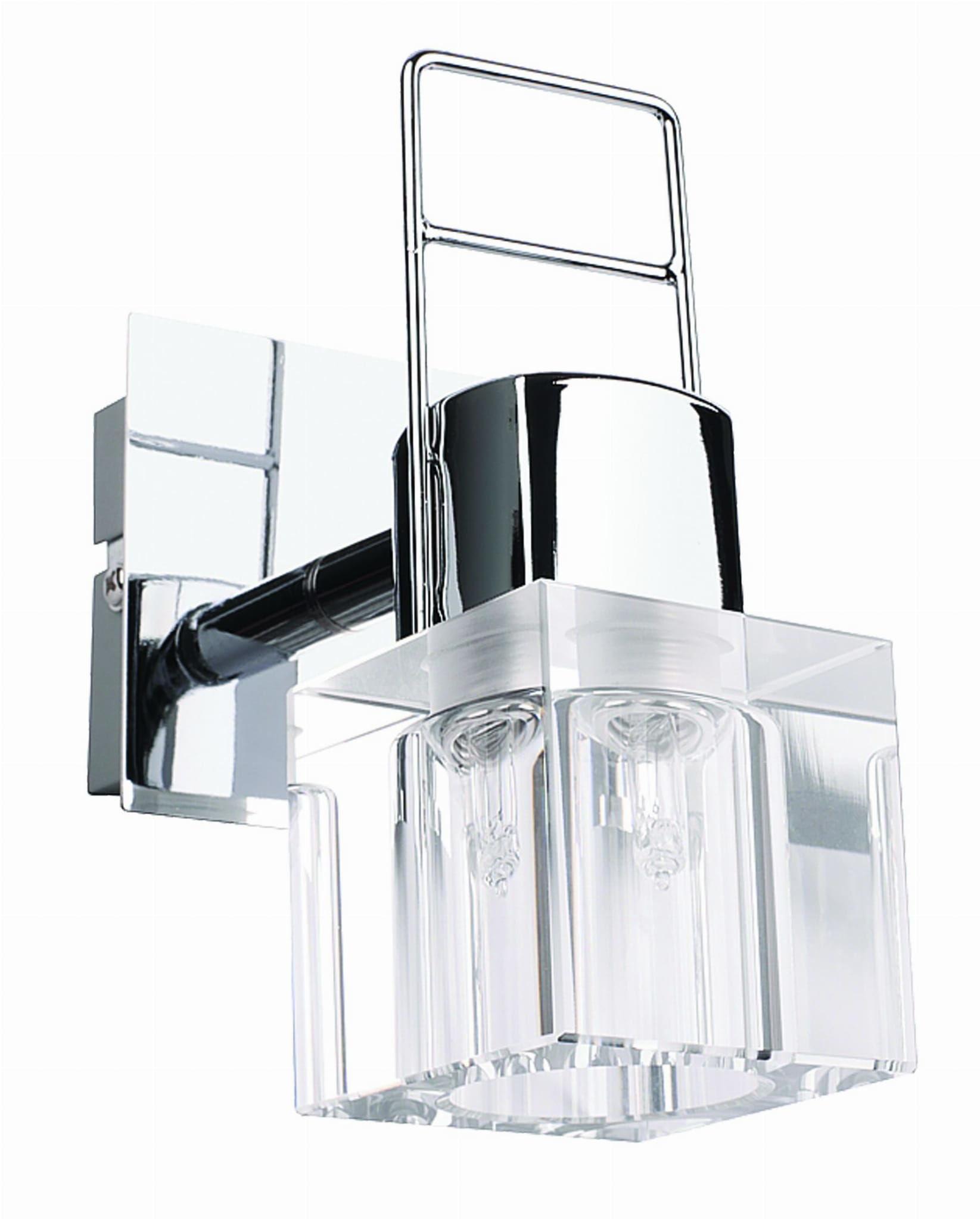 Light Prestige Londyn 1 spot LP-503/1W kinkiet lampa ścienna nowoczesny stylowy klosz kryształowy transparentny chromowana podstawa 1x40W G9 7cm