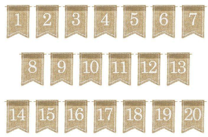 Jutowe numery na stół 7x10cm 20 sztuk KPZ5-008