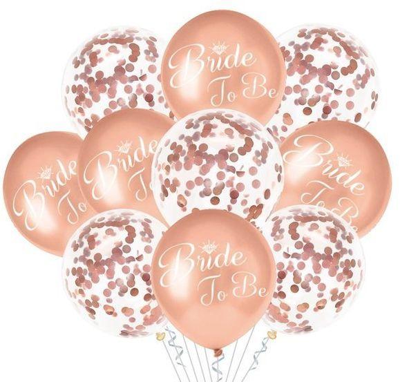 Zestaw balonów na Wieczór Panieński Bride to Be różowe złoto 10 sztuk 400813