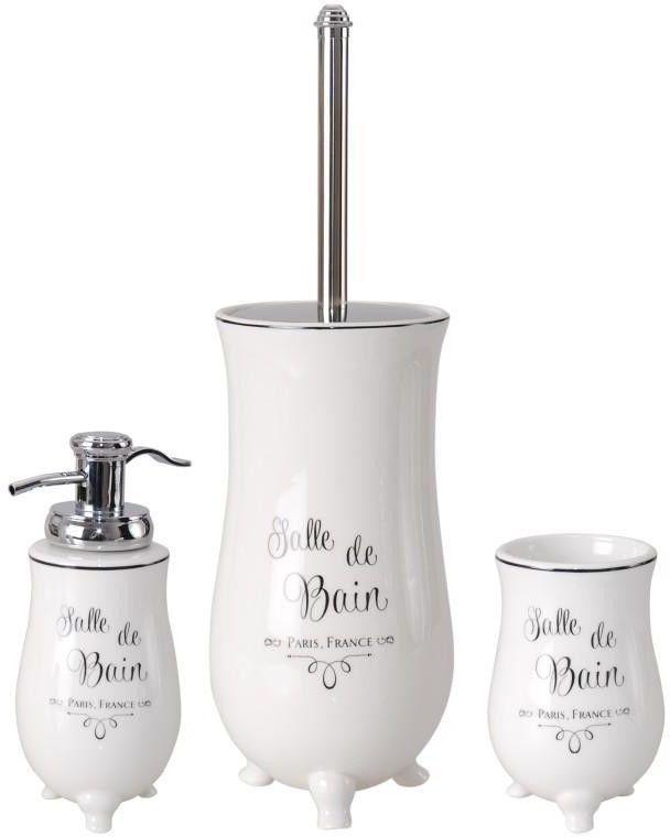 Komplet łazienkowy 3-elementy biały retro - Yoka