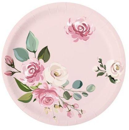 Różowe talerzyki w kwiatki 18cm 6 sztuk 511832