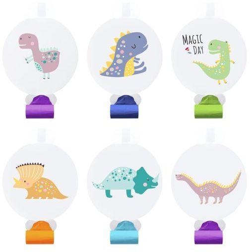 Gwizdki papierowe dinozaury trąbki 6szt 511844