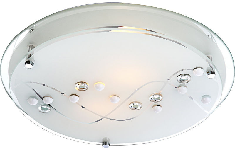 Globo plafon lampa sufitowa Ballerina I 48090-2 chrom, przezroczyste kamienie ozdobne, krawędź lustro 32cm