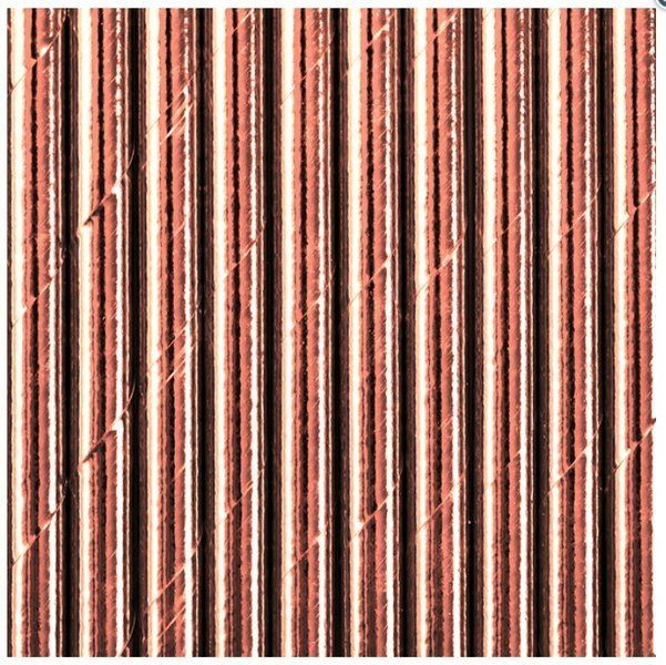 Słomki papierowe różowe złoto 20cm 25 sztuk 510639