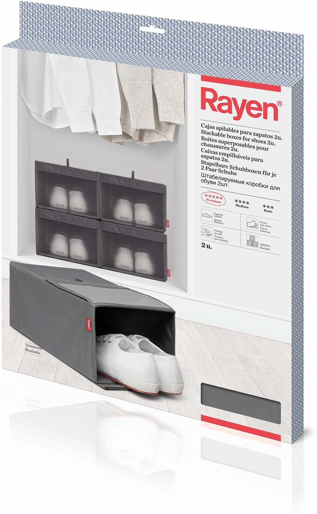 Rayen Skrzynki na buty, można układać w stos, szare, 23 x 34 x 16 cm