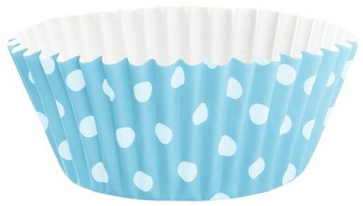 Błękitne papilotki do babeczek w kropki 100 sztuk 511432