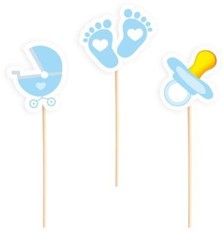 Dekoracje do muffinek na Baby Shower błękitne 6 sztuk 512289