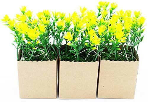 Heitmann Deco, sztuczne rośliny w papierowej doniczce, z diodą LED, zestaw 3 szt, zielony, biały, brązowy, 7x6x14,5 cm