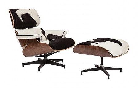 Czarno biały Fotel Skóra Naturalna Z Włosiem Pony Inspirowany Projektem Lounge Chair