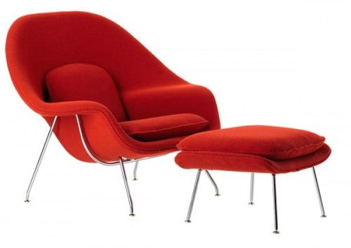 Czerwony Fotel Wełna Naturalna Inspirowany Projektem Womb Chair