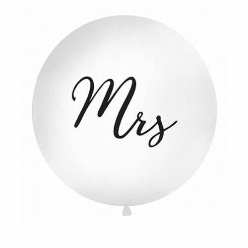 Balon ślubny Kula z czarnym napisem Mrs, 1 m