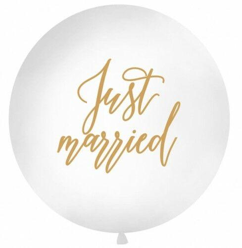 Balon ślubny Kula ze złotym napisem Just Married, 1 m