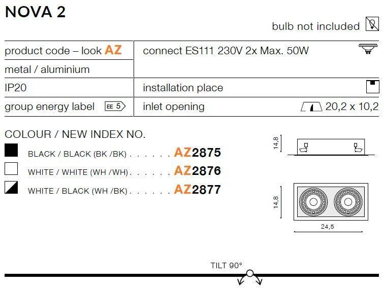Nova oprawa sufitowa do zabudowy 2-punktowa biała AZ2876