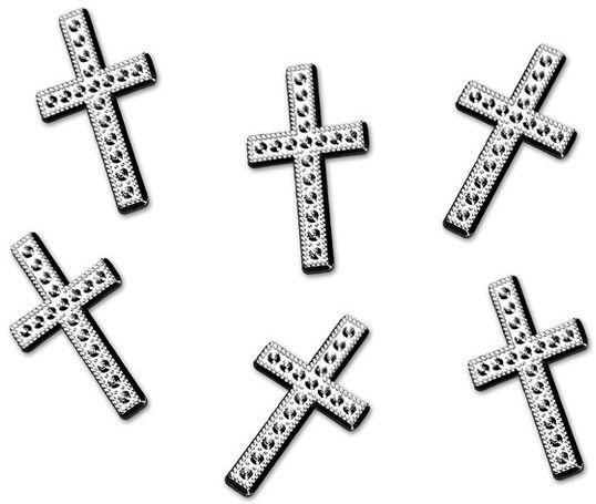 Konfetti srebrne metalizowane Krzyże 27mm 25 sztuk APLA30