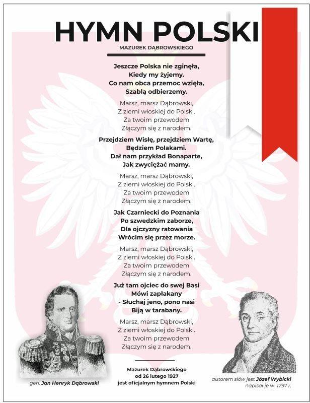 Naklejka na ścianę: Hymn Polski Mazurek Dąbrowskiego