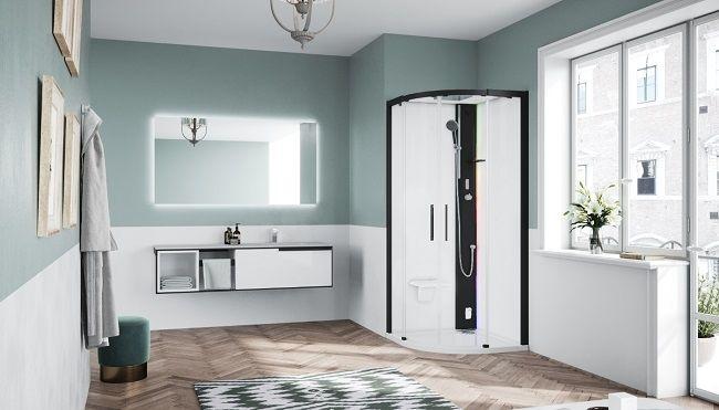 Novellini Glax 1 2.0 kabina z sauna parową 100x100 czarna G21R100M5-1HH