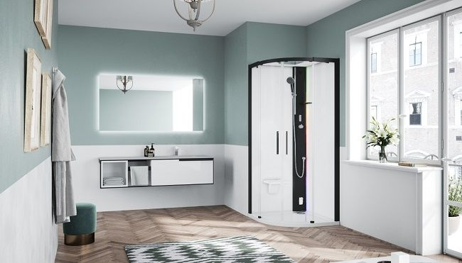 Novellini Glax 1 2.0 kabina z sauna parową 100x100 czarna G21R100T5-1HH