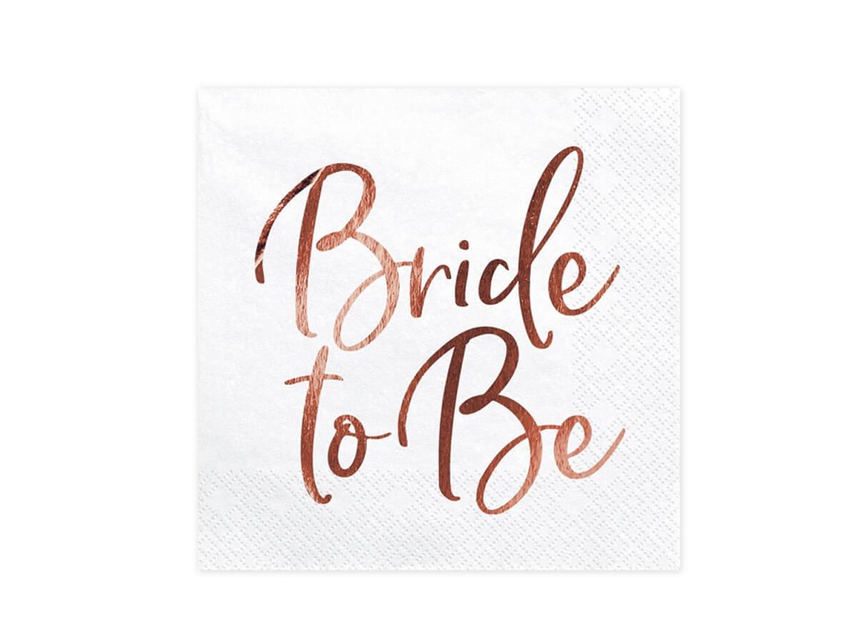 Serwetki weselne białe Bride to be - 33 cm - 20 szt.