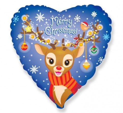 """Balon foliowy Świąteczny Renifer, Merry Christmas 18"""""""