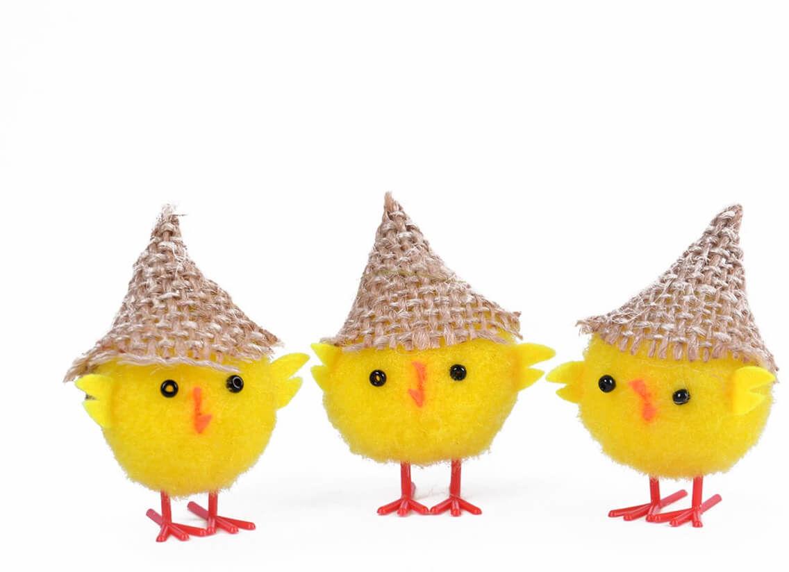 Kurczaczki wielkanocne w kapeluszu - 6 cm - 3 szt.