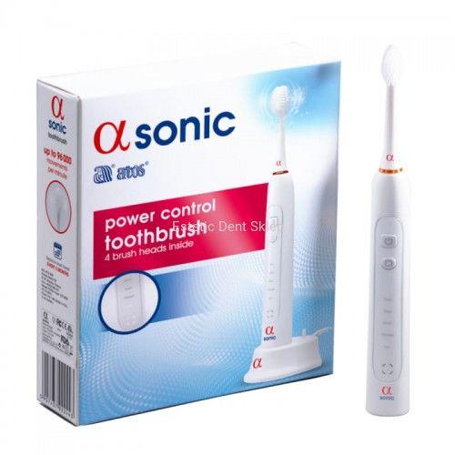 Alfa Sonic Power Control - Szczoteczka Soniczna z 5 trybami pracy i 4 końcówkami w zestawie, Biała