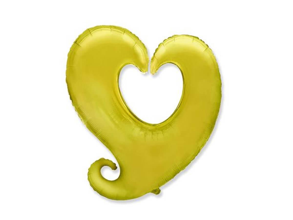 Balon foliowy serce złote - 60 cm - 1 szt.
