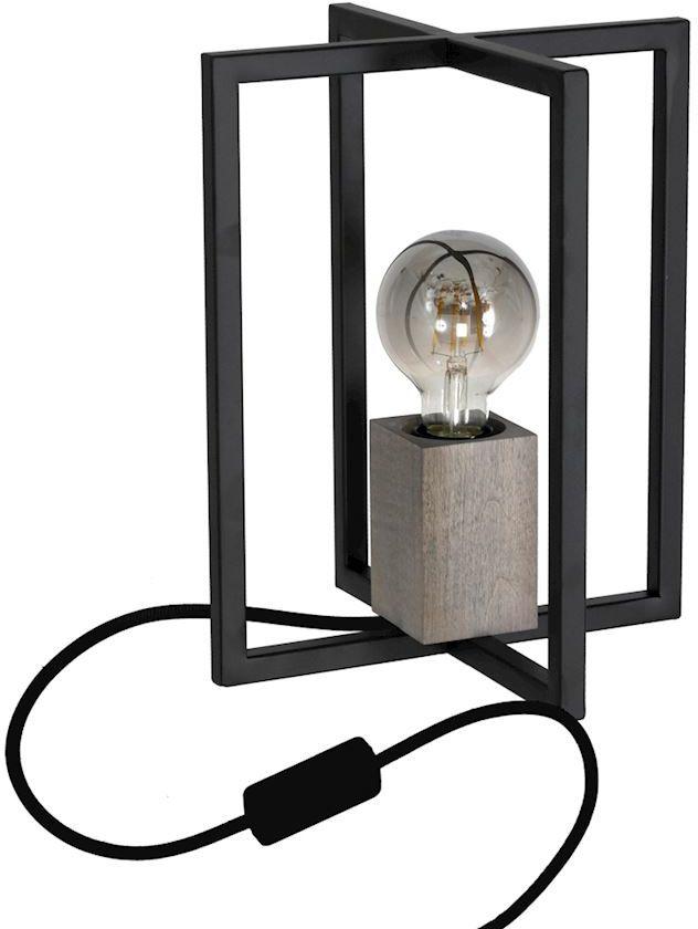 Milagro Ralph MLP3713 lampa stołowa nowoczesna metal drewno czarna 1xE27 30cm