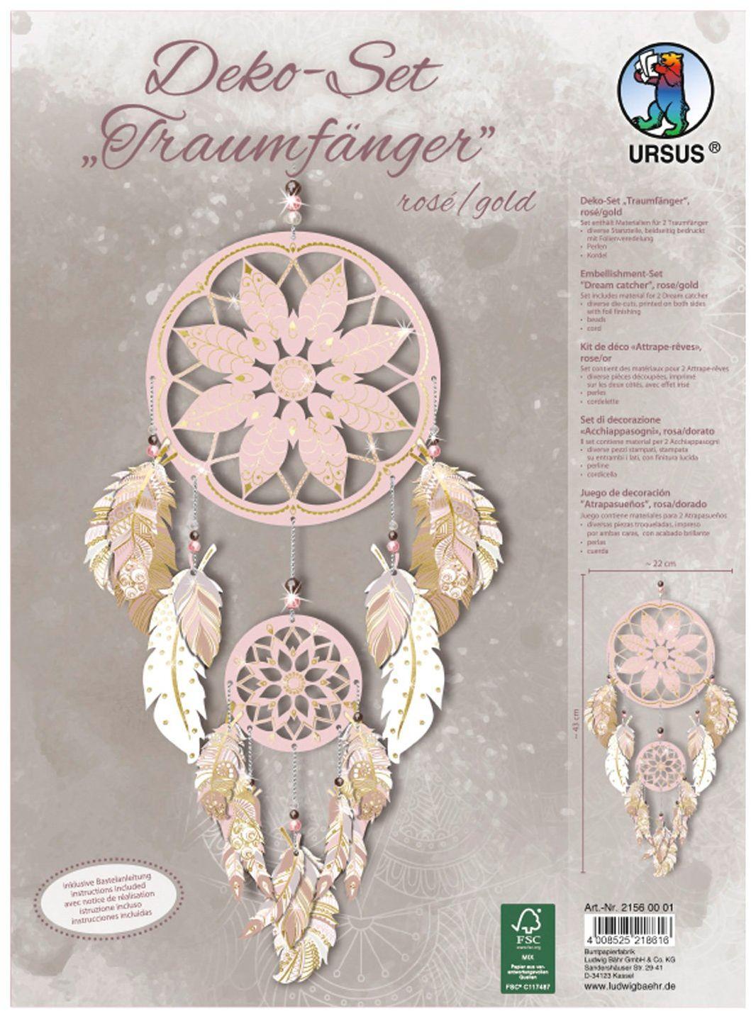 Ursus 21560001 - zestaw dekoracyjny łapacz snów, różowy/złoty