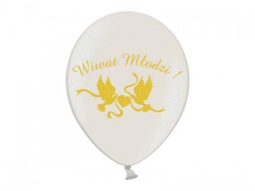 "Balon 14"" Wiwat Młodzi! biały metalik"