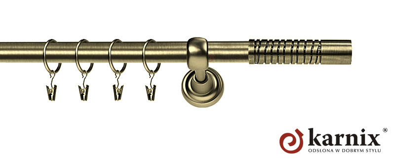 Karnisz Metalowy Rzymski pojedynczy 16mm Calabria antyk mosiądz