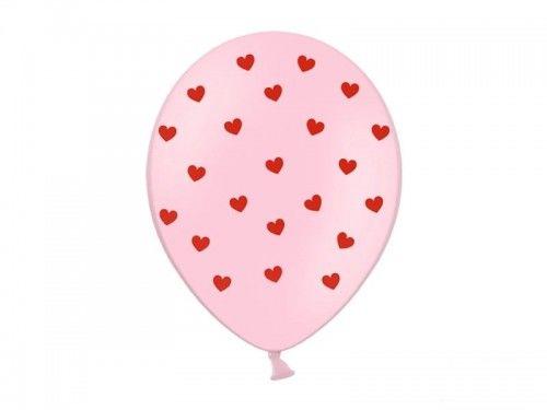 """Balon 14"""" Różowy w czerwone serduszka"""
