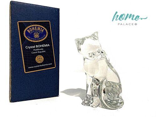 Kotek figurka kryształowa Bohemia