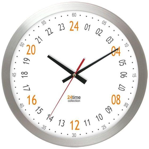 Metalowy 24-godzinny zegar ścienny Atrix AL2412H24A-1