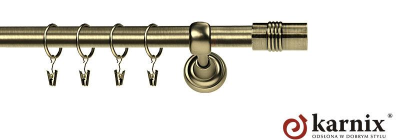 Karnisz Metalowy Rzymski pojedynczy 16mm Cylinder antyk mosiądz