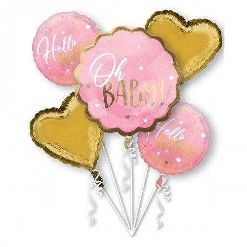 Bukiet balonów Oh Baby, różowe i złote, 5 szt.