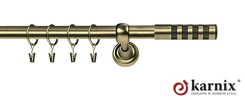 Karnisz Metalowy Rzymski pojedynczy 16mm Dakota Premium antyk mosiądz