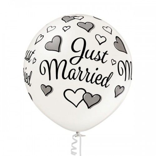 Balon Kula Gigant na ślub Just Married, 60 cm.