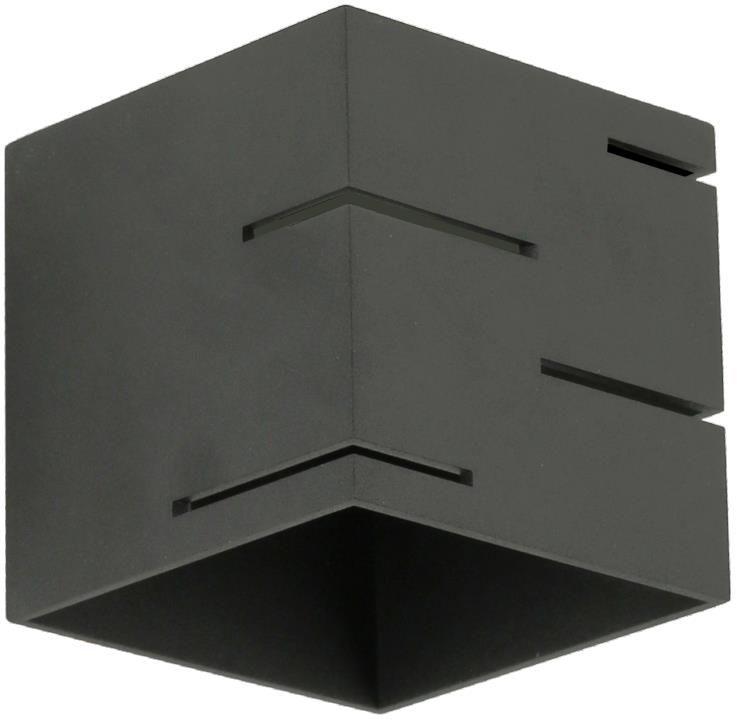 Lampex Quado MODERN A 692/A CZA kinkiet lampa ścienna nowoczesna czarny metal kwadrat 1x40W G9 10cm