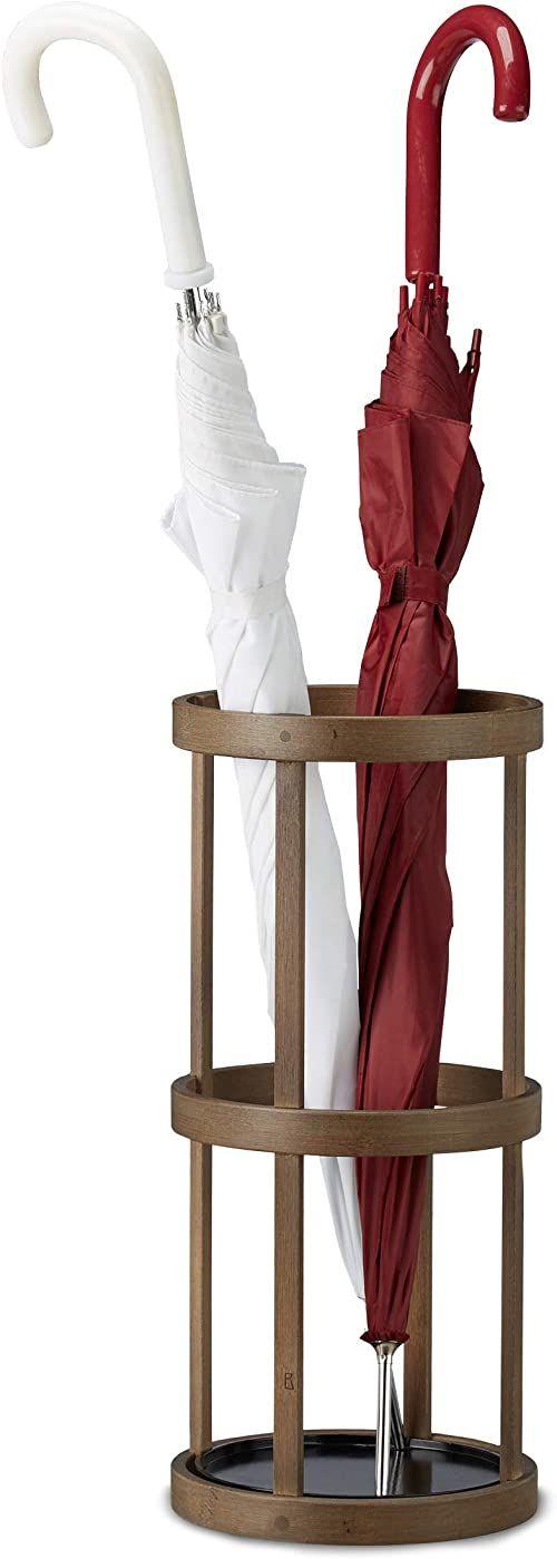 Relaxdays Stojak na parasole okrągły, bambus, uchwyt na kij z tacką, metalowy, wys. x gł.: 45 x 20,5 x 20,5 cm, brązowy
