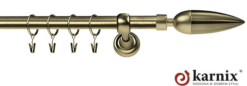 Karnisz Metalowy Rzymski pojedynczy 16mm Kazur antyk mosiądz