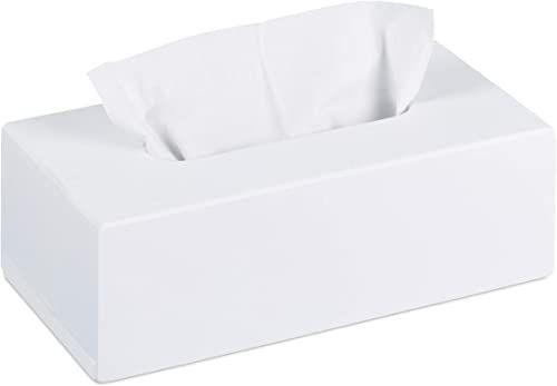 Relaxdays Bambusowe pudełko na chusteczki z przesuwanym dnem, pudełko na chusteczki, wys. x szer. x gł.: 7,5 x 24 x 12 cm, białe