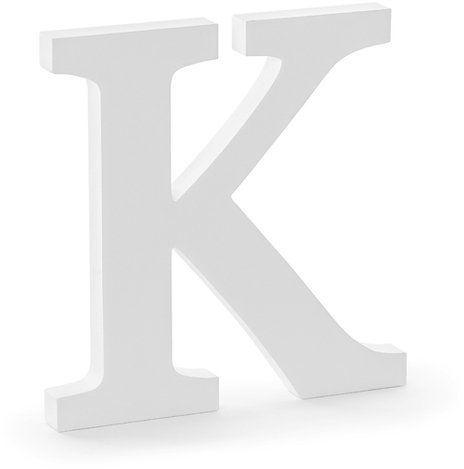 Drewniana litera K biała 20cm DL1-K-008