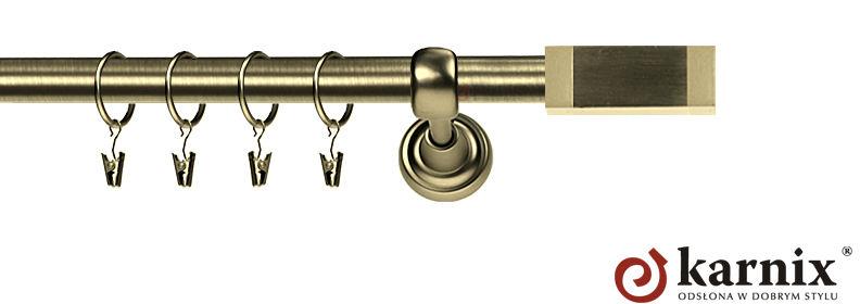 Karnisz Metalowy Rzymski pojedynczy 16mm Salerno antyk mosiądz