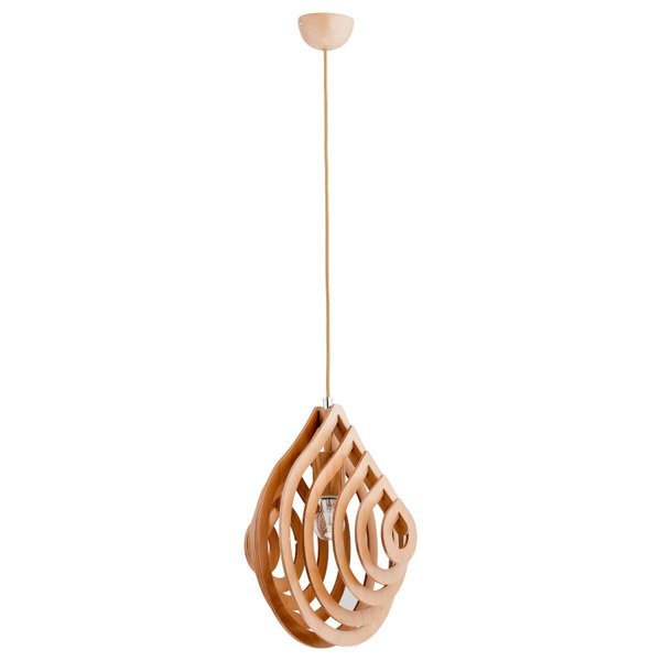 Lampa wisząca zwis KARNAK drewno śr. 35cm