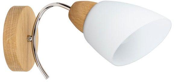 SPOTLIGHT kinkiet VILETTA WOOD drewno dębowe kolor dąb olejowany białe szkło, 8141174