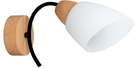 SPOTLIGHT kinkiet VILETTA WOOD drewno dębowe kolor dąb olejowany białe szkło, 8142174