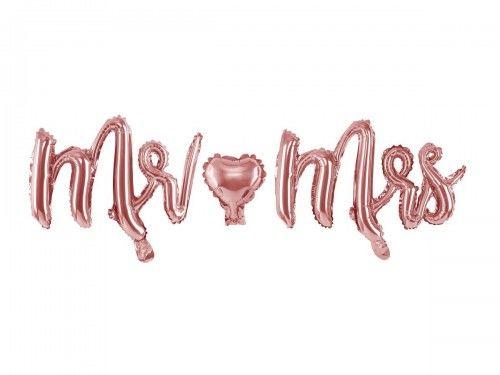 Balon foliowy na wesele napis Mr Mrs, różowe złoto